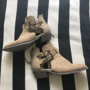 Tan Vegan Leather Ankle Booties Sz 8.5
